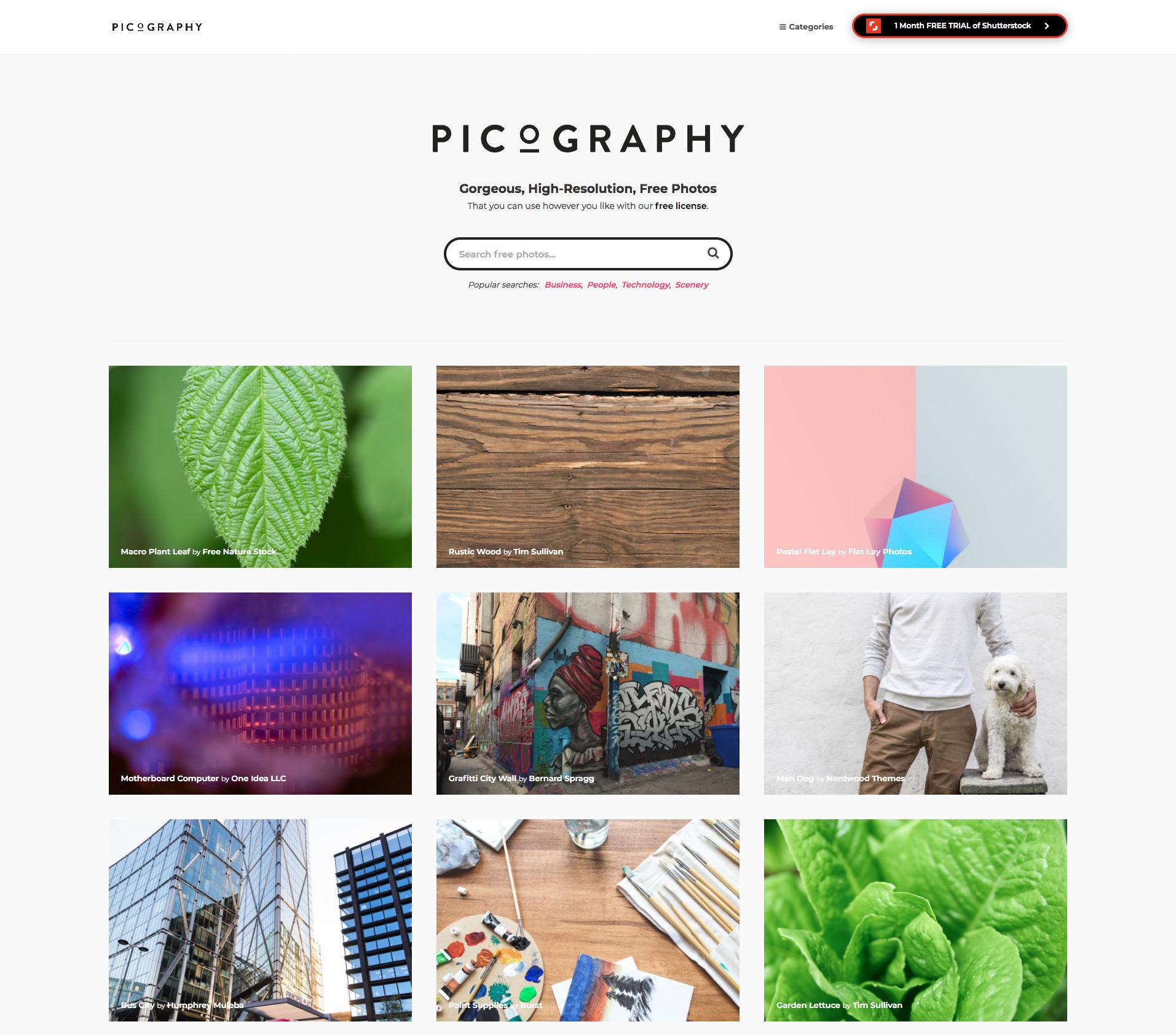 Picography, fotografías gratis para tu web